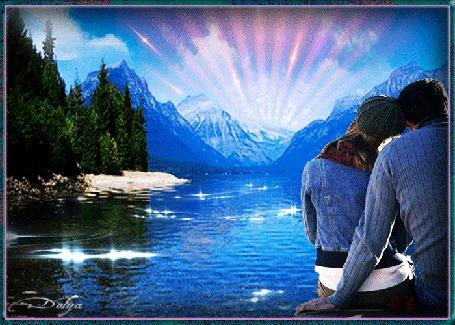 Анимация На фоне неба, гор, леса и реки сидят на мостике девушка и мужчина