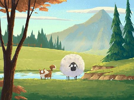 Анимация Пес и овечка играют (© chucha), добавлено: 16.05.2015 00:15