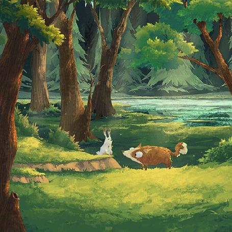 Анимация Кролик прыгает собаке на морду (© chucha), добавлено: 16.05.2015 00:16
