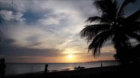 Анимация Красивый закат на берегу океана