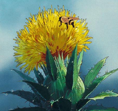 Анимация Пчела сидит на желтом цветке