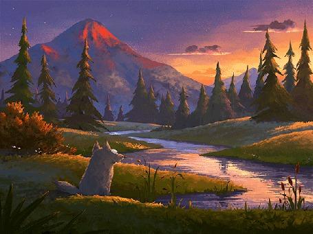 Анимация Волк сидит на берегу реки на фоне заката (© chucha), добавлено: 17.05.2015 00:20
