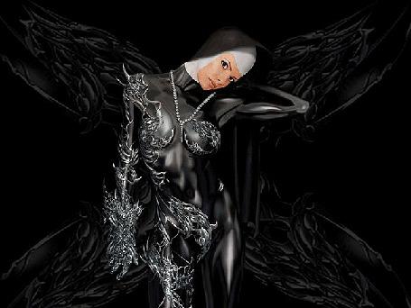 Анимация Девушка в черном облегающем костюме с металлической инкрустацией и с черными крыльями за спиной (© Akela), добавлено: 17.05.2015 02:50