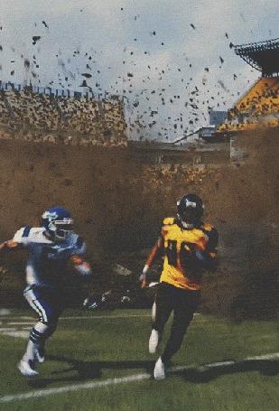 Анимация Игрок в регби бежит с мячом в руках, за ним проваливается земля и туда падают игроки противоположной команды (© Akela), добавлено: 17.05.2015 03:05