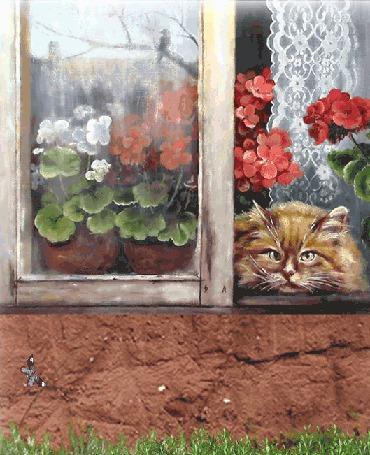 Анимация Рыжая кошка лежит на подоконнике открытого окна и наблюдает за летающими бабочками (© Akela), добавлено: 17.05.2015 04:05