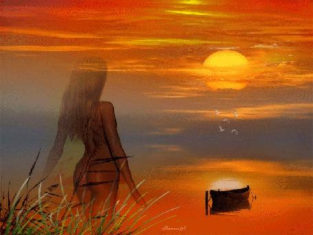 Анимация Девушка в бикини на берегу смотрит на закат солнца, НаташА