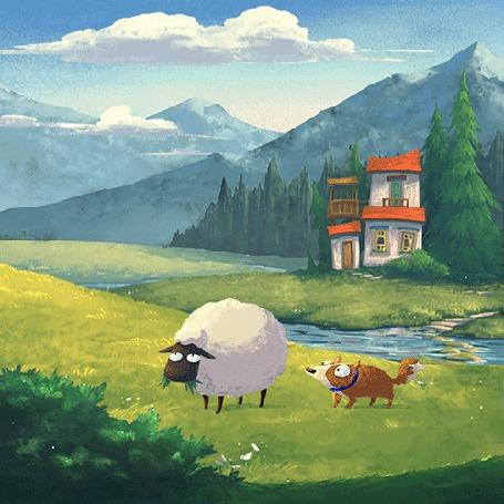 Анимация Собака пытается сдвинуть овечку (© chucha), добавлено: 18.05.2015 00:25