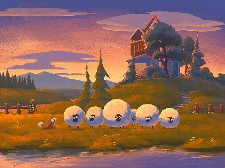 Анимация Собака играет с овечками (© chucha), добавлено: 18.05.2015 00:27
