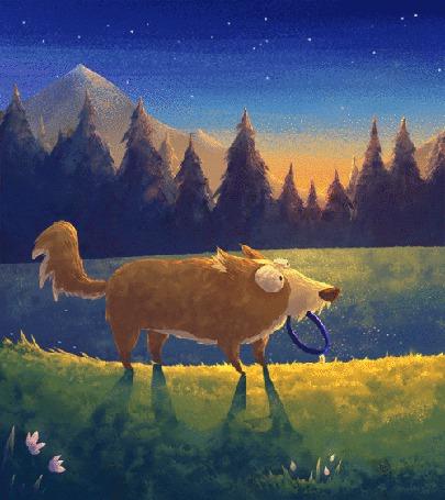 Анимация Собака с ошейником в пасти на берегу реки (© chucha), добавлено: 18.05.2015 00:28