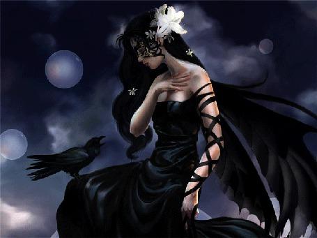 Анимация Девушка брюнетка с крыльями за спиной и цветком в волосах разговаривает с вороной сидяшей у нее на колене