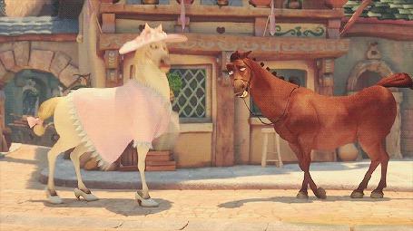 Анимация Конь Максимус, в женской одежде, ударяет копытом в туфлях, коричневого коня, кадр из короткометражки Рапунцель: Счастлива навсегда / Tangled Ever After (© Seona), добавлено: 18.05.2015 11:50