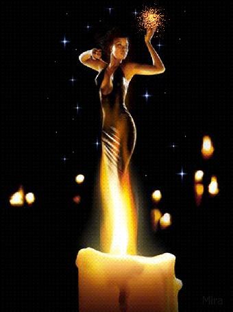 Анимация В горящем пламени свечи силуэт девушки, держащей в руке сияющий огонь (© Akela), добавлено: 18.05.2015 13:40