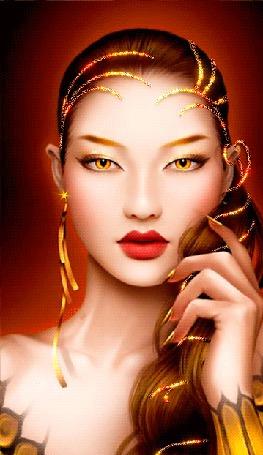 Анимация Восточная девушка с желтыми глазами, с золотыми сверкающими линиями на голове и в волосах (© Akela), добавлено: 18.05.2015 13:43