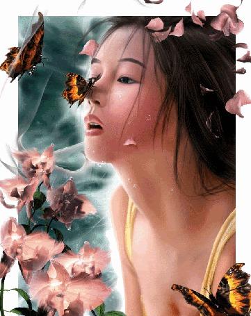 Анимация Восточная девушка с цветами, бабочкой на носу, с бабочками вокруг, с каплями воды и лепестками цветов на лице