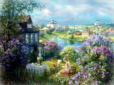 Анимация Утро в деревне, девочка в саду на фоне речки, домиков, неба с облаками, Mira