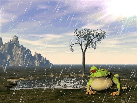 Анимация Смешная лягушка сидит возле воды под дождем, DiZa (© Natalika), добавлено: 18.05.2015 16:15