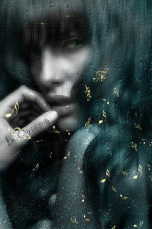 Анимация Грустная девушка смотрит сквозь стекло со стекающими каплями дождя, россыпь нотных знаков (© Bezchyfstv), добавлено: 18.05.2015 16:50