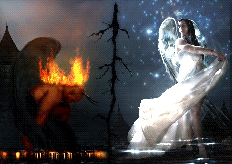 Анимация Демон в огне и ангел в россыпи мерцающих звезд стоит в воде, мир расколот напополам