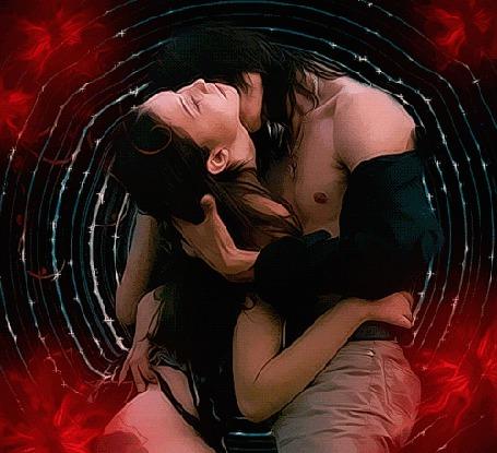 Анимация Парень обнимает и целует девушку