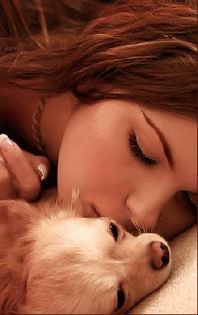 Анимация Щенок спит на руке уснувшей девушки (© Akela), добавлено: 20.05.2015 01:24