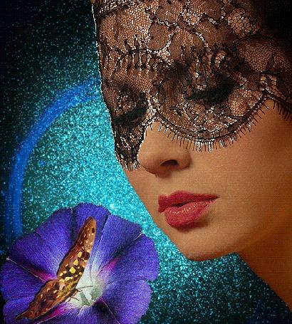 Анимация Лицо девушки частично закрытое полупрозрачной черной вуалью, перед синим цветком, на котором сидит и машет крылышками бабочка (© Akela), добавлено: 20.05.2015 01:29