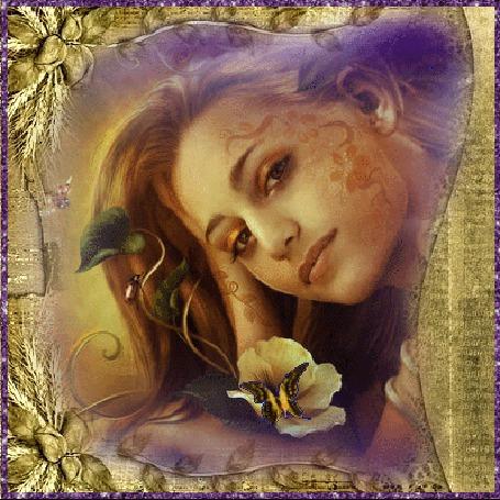Анимация Желтая бабочка, порхающая крылышками на желтом цветке, и красавица с глазами, отливающими золотом, смотрит на нас