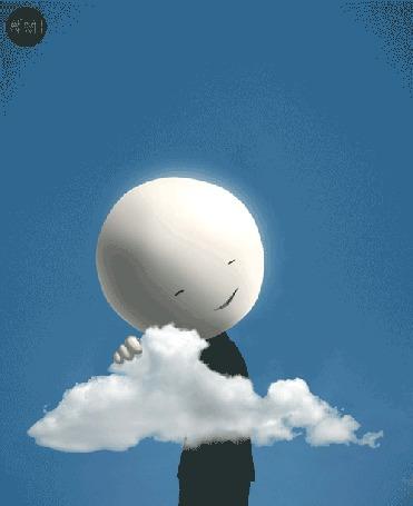 Анимация Человечек с огромной белой головой кушает облачко (© zmeiy), добавлено: 21.05.2015 22:43