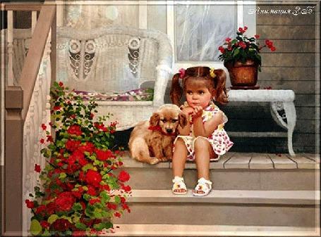 Анимация Сидящая на ступеньках девочка с собачкой, на фоне дома и горшка с цветами. На переднем плане куст красных цветов. Анимация З. Б (© qalina), добавлено: 23.05.2015 17:33