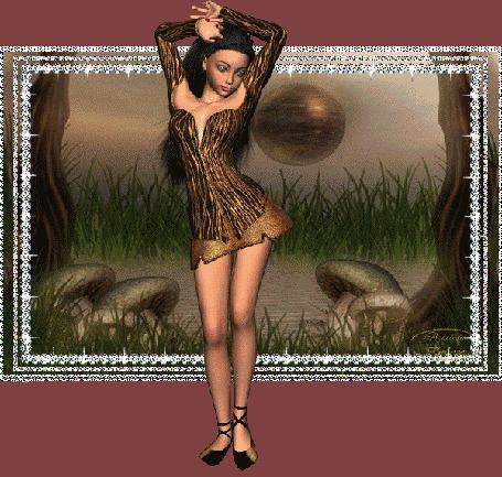 Анимация Девушка в коротком платье танцует на фоне пейзажа с грибами, травой, деревьями и шара (© qalina), добавлено: 23.05.2015 18:18