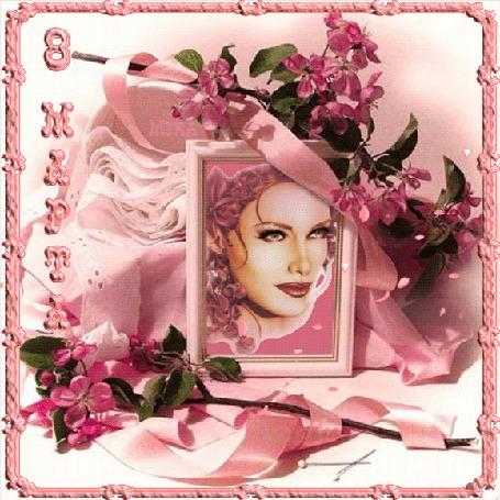 Анимация Портрет девушки на фоне розовых цветов и падающих лепестков. 8 марта (© qalina), добавлено: 23.05.2015 18:29