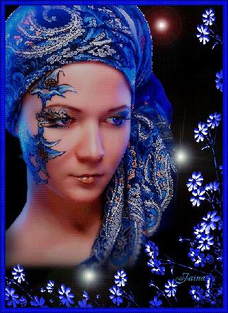 Анимация Восточная девушка в синей чалме, на черном фоне