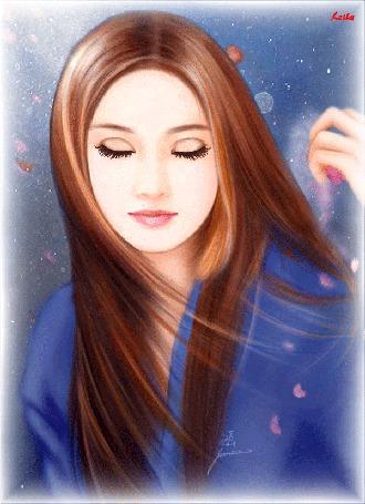 Анимация Девушка в синем нарядном платье с длинными красивыми волосами (© qalina), добавлено: 23.05.2015 19:44