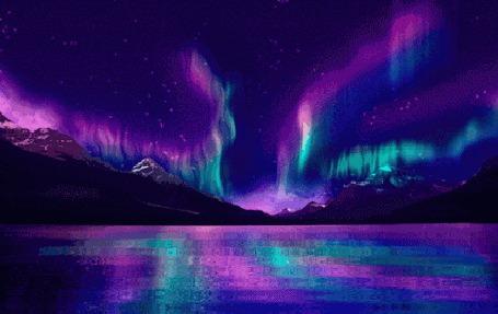 Анимация Северное сияние в небе и его отражении на воде (© zmeiy), добавлено: 23.05.2015 20:54