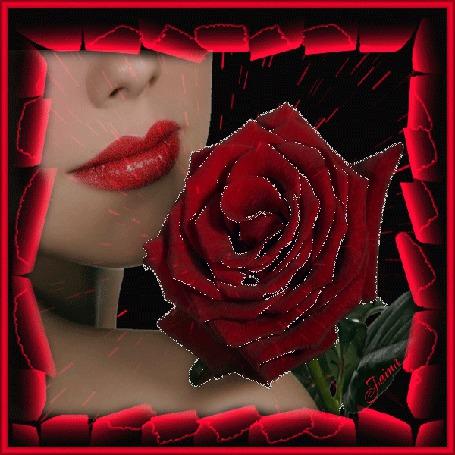 Анимация Девушка с красной помадой на губах и с красной розой в руках