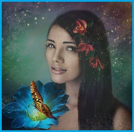 Анимация Девушка с цветами в волосах и с бабочкой (© qalina), добавлено: 23.05.2015 21:29