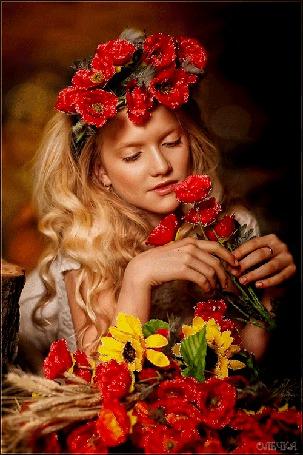 Анимация Девушка с красными цветами в волосах и руках (© qalina), добавлено: 23.05.2015 22:04