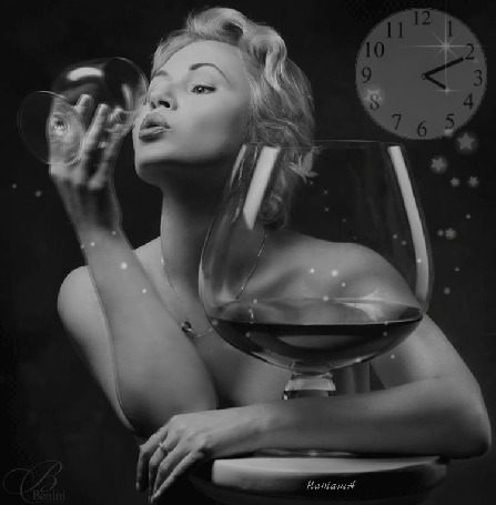 Анимация Девушка с бокалом вина на фоне часов. Наташа (© qalina), добавлено: 23.05.2015 22:13