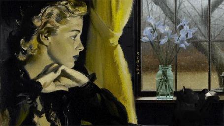 Анимация Ретро девушка сидит у окна. На подоконнике баночка с букетом полевых цветов (© qalina), добавлено: 23.05.2015 22:22