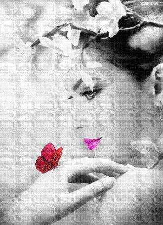 Анимация Красивая девушка с белыми цветами на голове и с бабочкой на руке (© qalina), добавлено: 23.05.2015 23:53