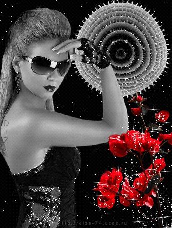 Анимация Девушка в темных очках на фоне красных цветов (© qalina), добавлено: 24.05.2015 15:23