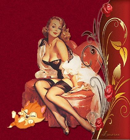 Анимация Девушка в кресле, рядом цветы, а под ногами котенок (© qalina), добавлено: 24.05.2015 15:50