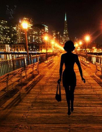 Анимация Девушка с сумочкой в руке, идет по освещенному фонарями мосту (© Akela), добавлено: 25.05.2015 12:33