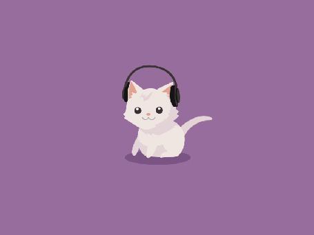 Анимация Белый котенок слушает музыку в наушниках (© Seona), добавлено: 25.05.2015 13:06