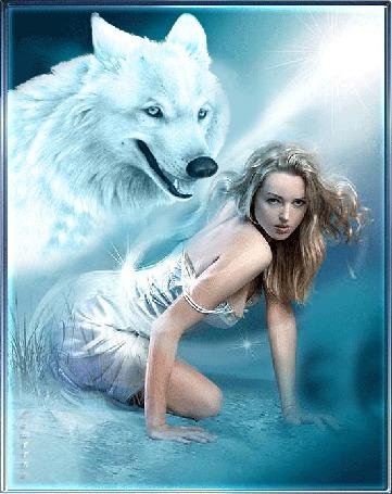 Анимация Белый волк с горящим взглядом склонился над девушкой в лучах света, Lamerna
