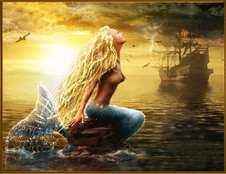 Анимация Девушка-русалка зазывает корабль на фоне солнца и грозы в небе, Lamerna