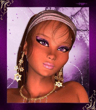 Анимация Девушка на сиреневом фоне с грустными глазами и с розовой помадой на губах