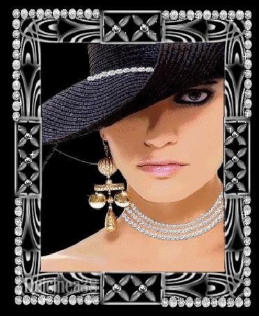 Анимация Девушка в черной шляпе с ожерельем на шее и в серьгах (© qalina), добавлено: 26.05.2015 03:59