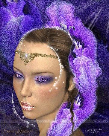 Анимация Девушка на сиреневом фоне с грустным лицом с украшением на лбу (© qalina), добавлено: 26.05.2015 04:12