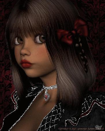 Анимация Девочка с красивыми глазами с бантиком в волосах