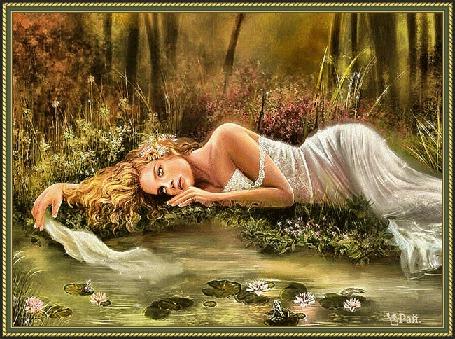 Анимация Девушка лежит на лужайке и грустит (© qalina), добавлено: 26.05.2015 05:01